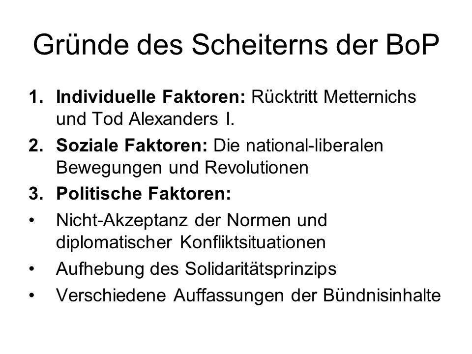 Gründe des Scheiterns der BoP 1.Individuelle Faktoren: Rücktritt Metternichs und Tod Alexanders I. 2.Soziale Faktoren: Die national-liberalen Bewegung