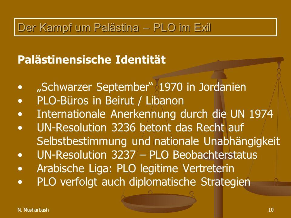 N. Musharbash10 Der Kampf um Palästina – PLO im Exil Palästinensische Identität Schwarzer September 1970 in Jordanien PLO-Büros in Beirut / Libanon In
