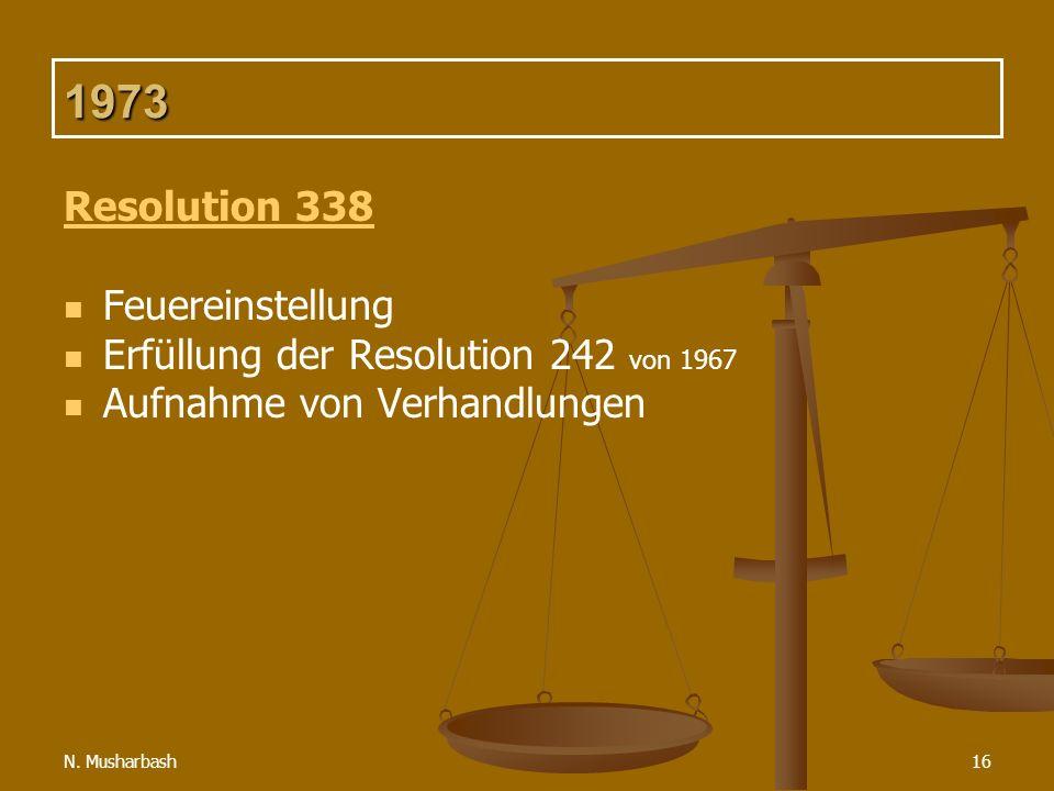N. Musharbash16 1973 Resolution 338 Feuereinstellung Erfüllung der Resolution 242 von 1967 Aufnahme von Verhandlungen
