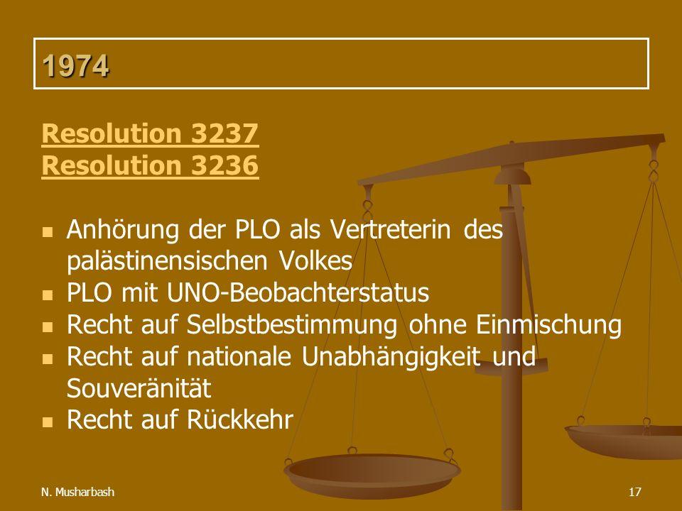 N. Musharbash17 1974 Resolution 3237 Resolution 3236 Anhörung der PLO als Vertreterin des palästinensischen Volkes PLO mit UNO-Beobachterstatus Recht