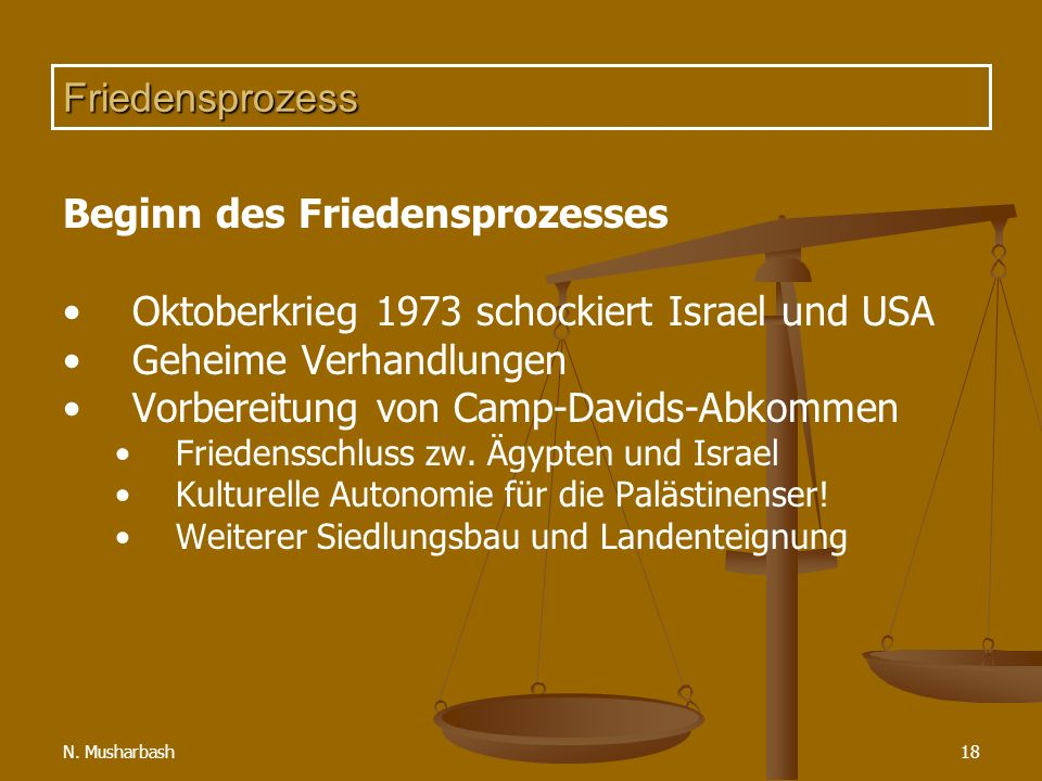 N. Musharbash18 Friedensprozess Beginn des Friedensprozesses Oktoberkrieg 1973 schockiert Israel und USA Geheime Verhandlungen Vorbereitung von Camp-D