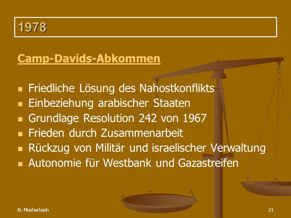 N. Musharbash21 1978 Camp-Davids-Abkommen Friedliche Lösung des Nahostkonflikts Einbeziehung arabischer Staaten Grundlage Resolution 242 von 1967 Frie