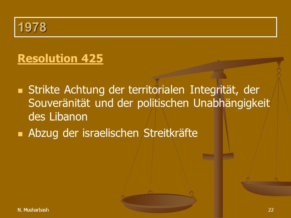 N. Musharbash22 1978 Resolution 425 Strikte Achtung der territorialen Integrität, der Souveränität und der politischen Unabhängigkeit des Libanon Abzu