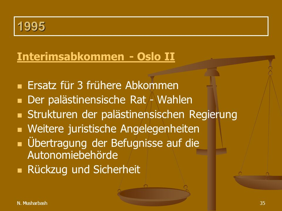 N. Musharbash35 1995 Interimsabkommen - Oslo II Ersatz für 3 frühere Abkommen Der palästinensische Rat - Wahlen Strukturen der palästinensischen Regie