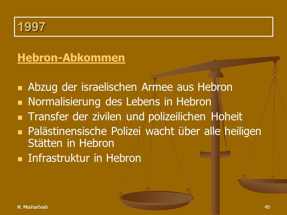 N. Musharbash40 1997 Hebron-Abkommen Abzug der israelischen Armee aus Hebron Normalisierung des Lebens in Hebron Transfer der zivilen und polizeiliche