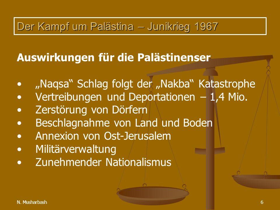 N. Musharbash6 Der Kampf um Palästina – Junikrieg 1967 Auswirkungen für die Palästinenser Naqsa Schlag folgt der Nakba Katastrophe Vertreibungen und D