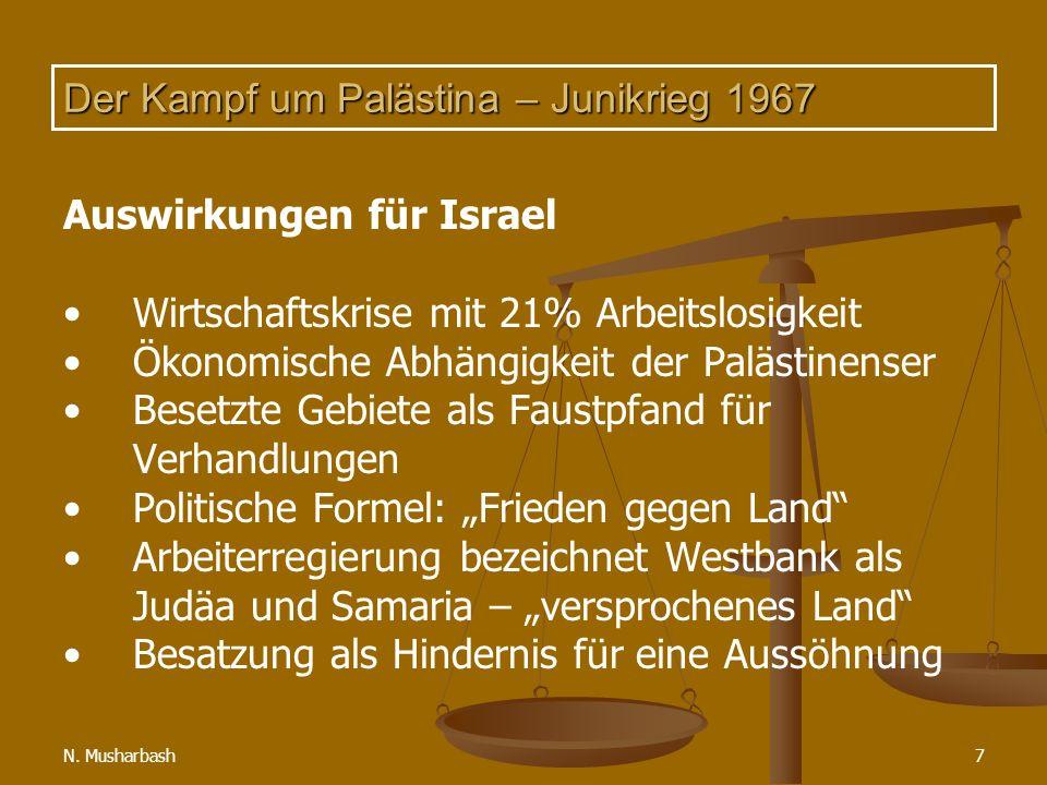 N. Musharbash7 Der Kampf um Palästina – Junikrieg 1967 Auswirkungen für Israel Wirtschaftskrise mit 21% Arbeitslosigkeit Ökonomische Abhängigkeit der