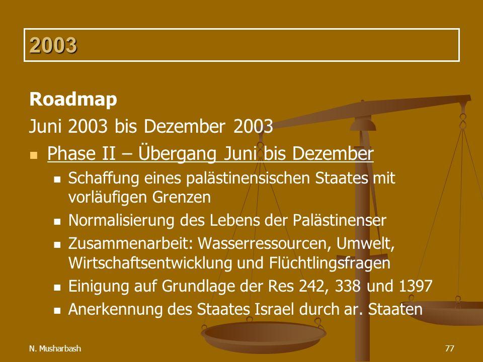 N. Musharbash77 2003 Roadmap Juni 2003 bis Dezember 2003 Phase II – Übergang Juni bis Dezember Schaffung eines palästinensischen Staates mit vorläufig
