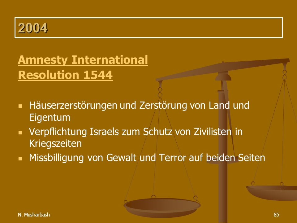 N. Musharbash85 2004 Amnesty International Resolution 1544 Häuserzerstörungen und Zerstörung von Land und Eigentum Verpflichtung Israels zum Schutz vo