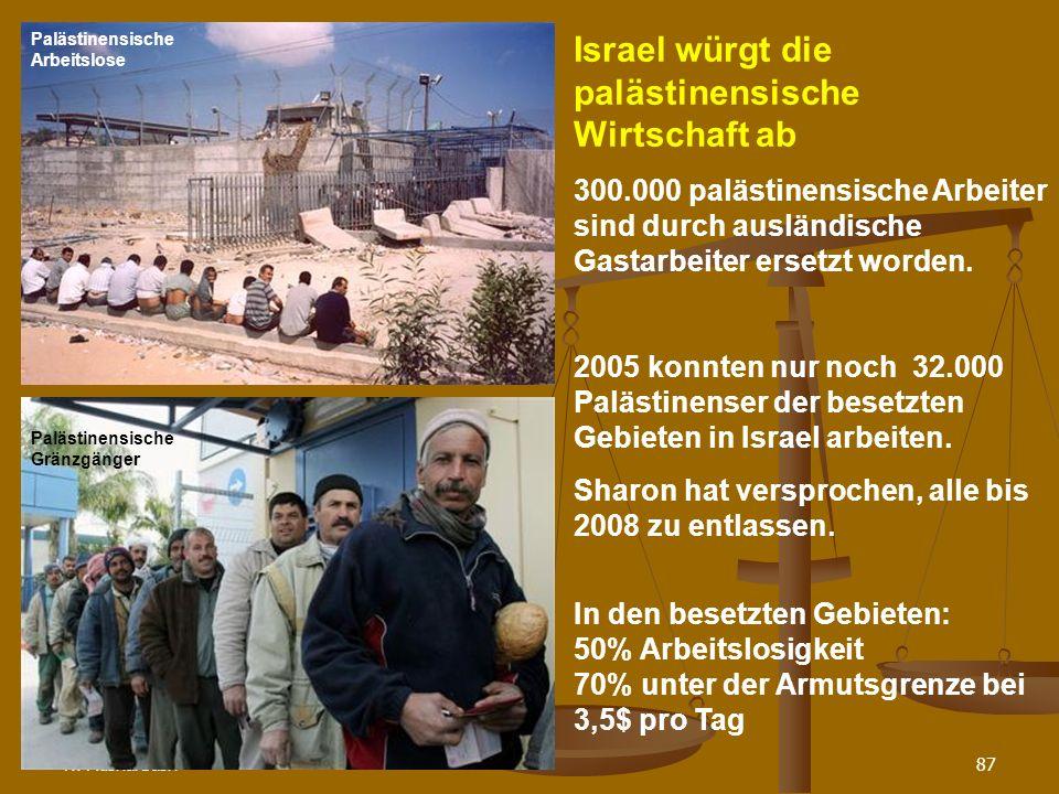 N. Musharbash87 Israel würgt die palästinensische Wirtschaft ab 300.000 palästinensische Arbeiter sind durch ausländische Gastarbeiter ersetzt worden.