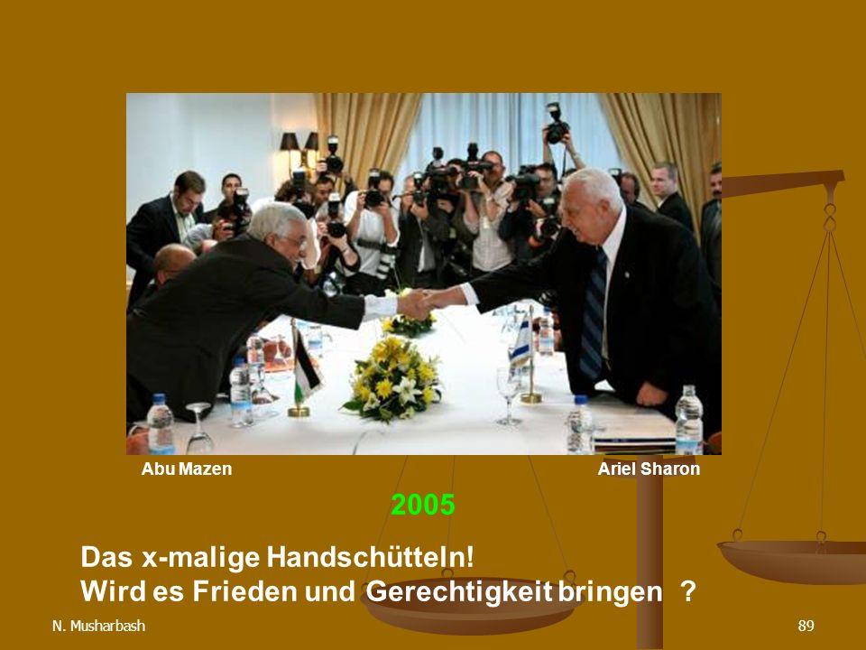 N.Musharbash89 2005 Das x-malige Handschütteln. Wird es Frieden und Gerechtigkeit bringen .