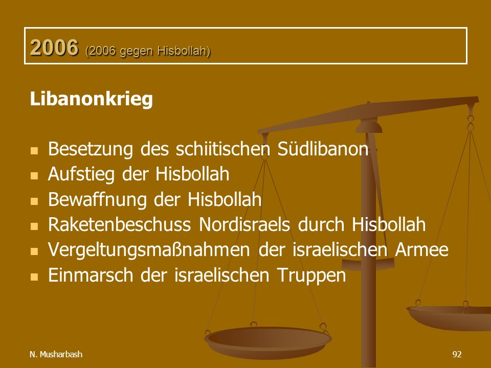 N. Musharbash92 2006 (2006 gegen Hisbollah) Libanonkrieg Besetzung des schiitischen Südlibanon Aufstieg der Hisbollah Bewaffnung der Hisbollah Raketen