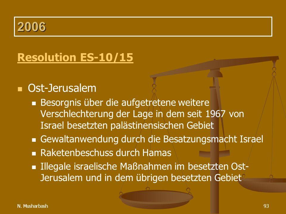 N. Musharbash93 2006 Resolution ES-10/15 Ost-Jerusalem Besorgnis über die aufgetretene weitere Verschlechterung der Lage in dem seit 1967 von Israel b