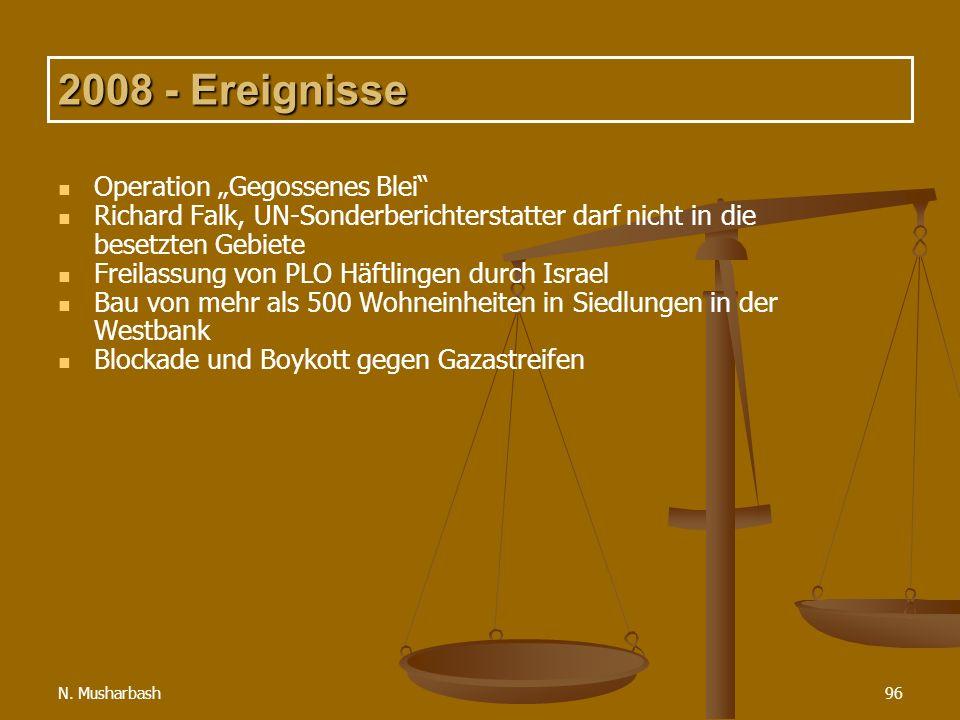 N. Musharbash96 2008 - Ereignisse Operation Gegossenes Blei Richard Falk, UN-Sonderberichterstatter darf nicht in die besetzten Gebiete Freilassung vo