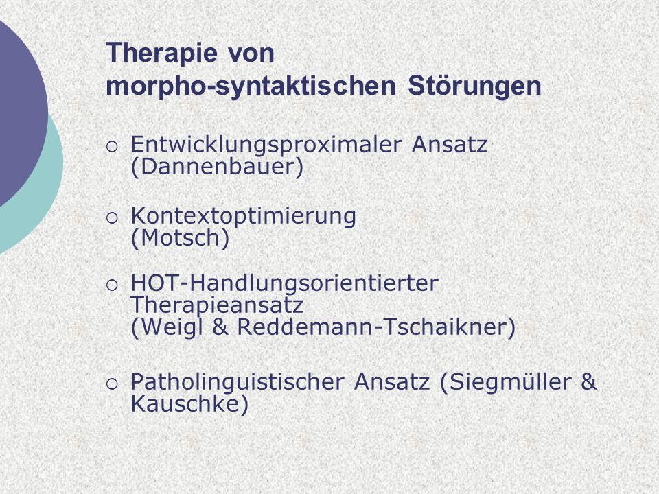 Therapie von morpho-syntaktischen Störungen Entwicklungsproximaler Ansatz (Dannenbauer) Kontextoptimierung (Motsch) HOT-Handlungsorientierter Therapieansatz (Weigl & Reddemann-Tschaikner) Patholinguistischer Ansatz (Siegmüller & Kauschke)