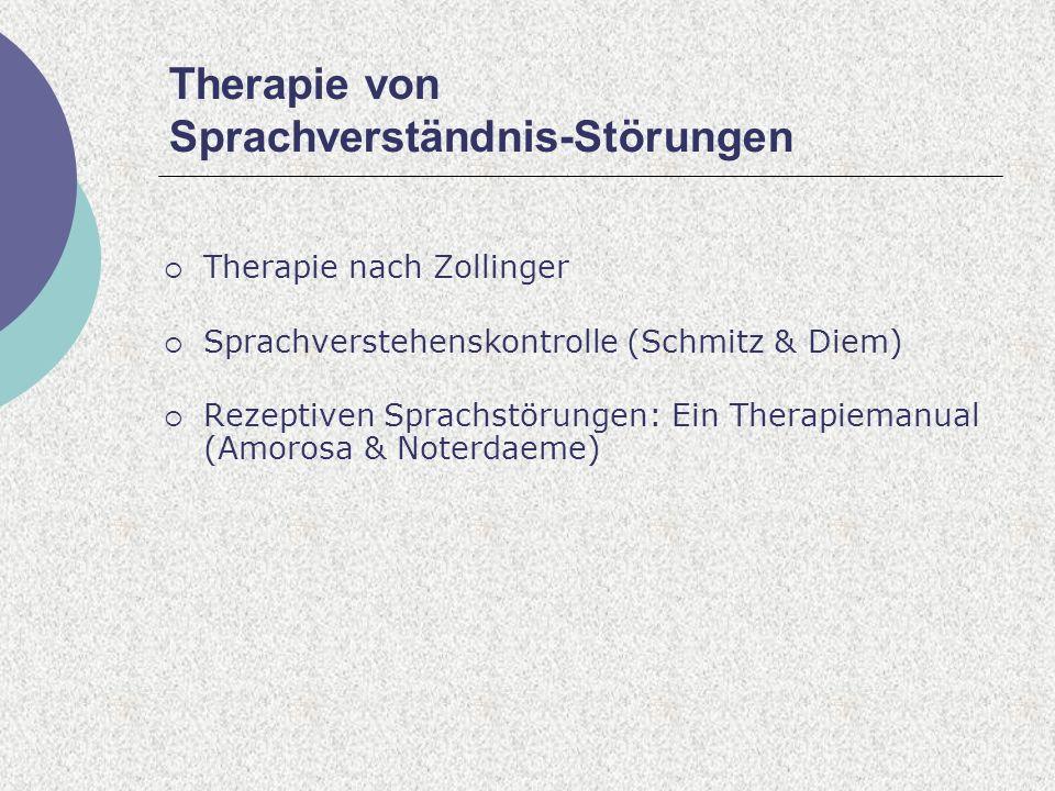 Therapie von Sprachverständnis-Störungen Therapie nach Zollinger Sprachverstehenskontrolle (Schmitz & Diem) Rezeptiven Sprachstörungen: Ein Therapiemanual (Amorosa & Noterdaeme)