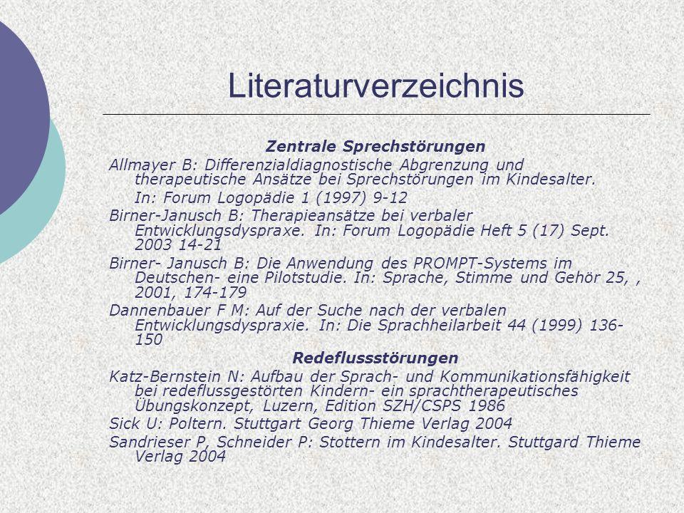 Literaturverzeichnis Zentrale Sprechstörungen Allmayer B: Differenzialdiagnostische Abgrenzung und therapeutische Ansätze bei Sprechstörungen im Kindesalter.