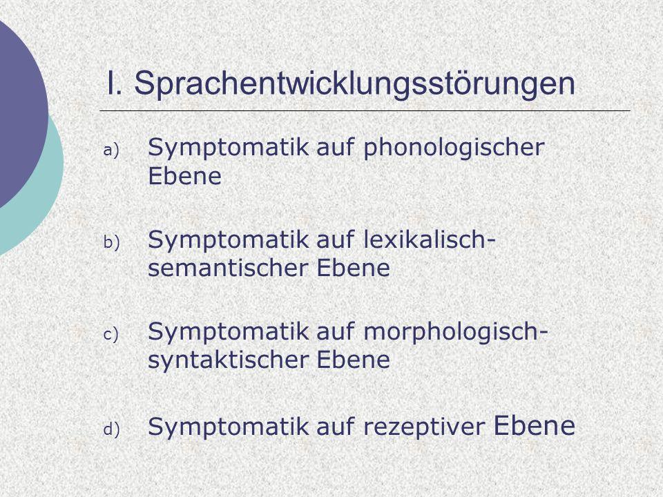 I. Sprachentwicklungsstörungen a) Symptomatik auf phonologischer Ebene b) Symptomatik auf lexikalisch- semantischer Ebene c) Symptomatik auf morpholog