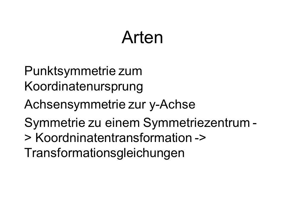 Arten Punktsymmetrie zum Koordinatenursprung Achsensymmetrie zur y-Achse Symmetrie zu einem Symmetriezentrum - > Koordninatentransformation -> Transfo