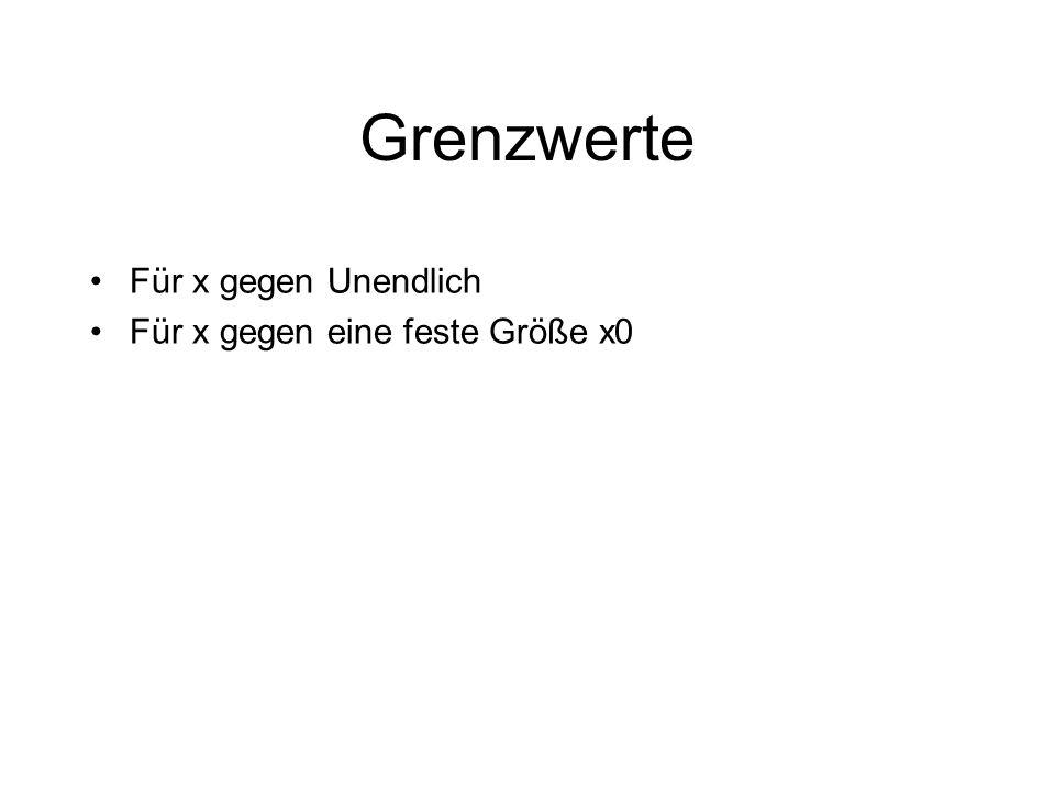 Grenzwerte Für x gegen Unendlich Für x gegen eine feste Größe x0