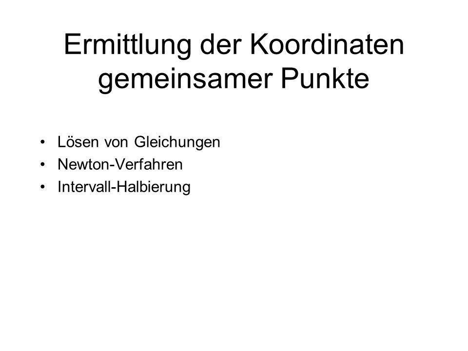 Ermittlung der Koordinaten gemeinsamer Punkte Lösen von Gleichungen Newton-Verfahren Intervall-Halbierung