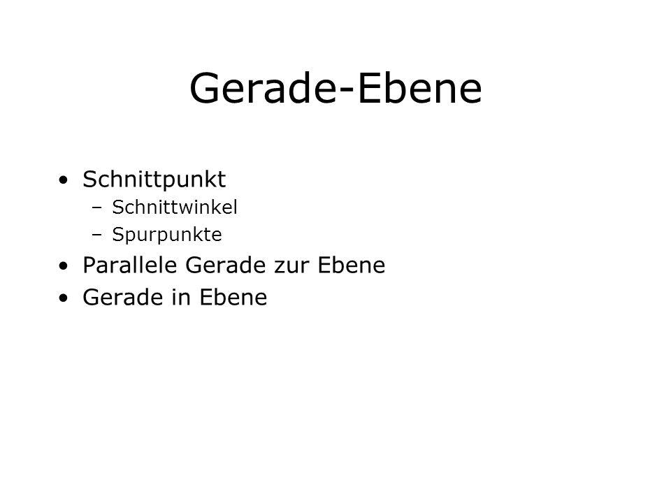 Gerade-Ebene Schnittpunkt –Schnittwinkel –Spurpunkte Parallele Gerade zur Ebene Gerade in Ebene