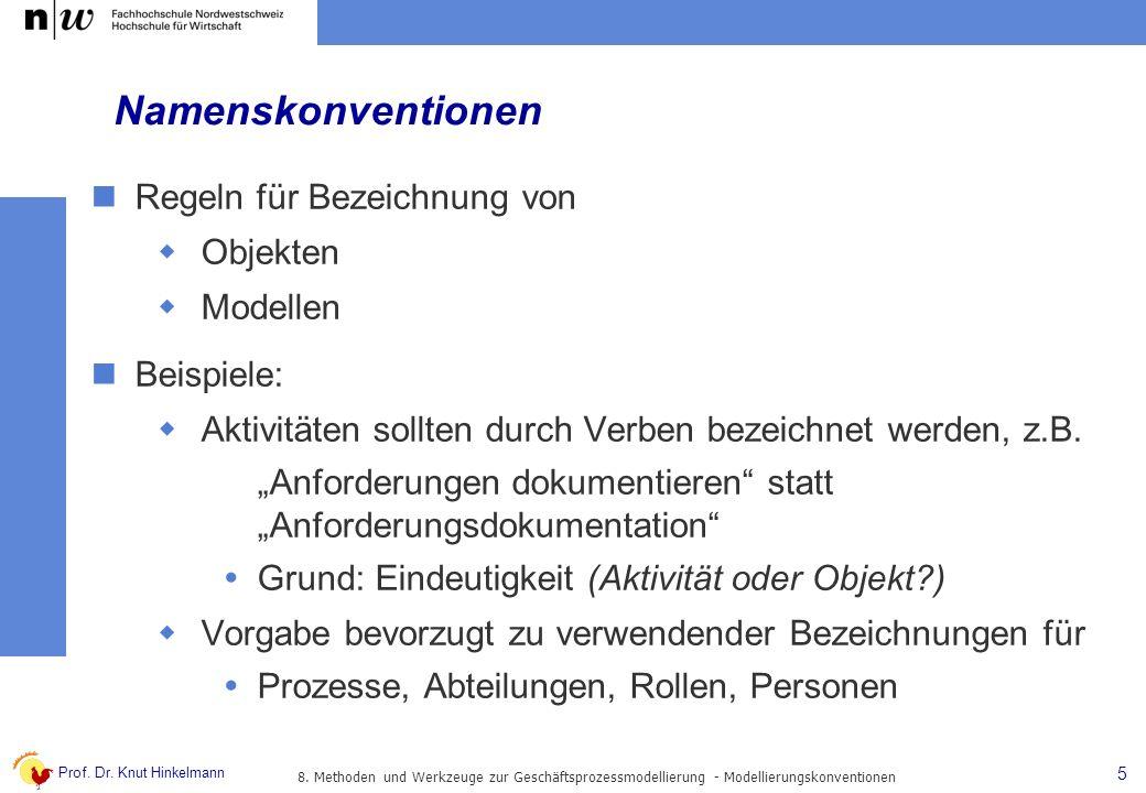 Prof. Dr. Knut Hinkelmann 5 Namenskonventionen Regeln für Bezeichnung von Objekten Modellen Beispiele: Aktivitäten sollten durch Verben bezeichnet wer
