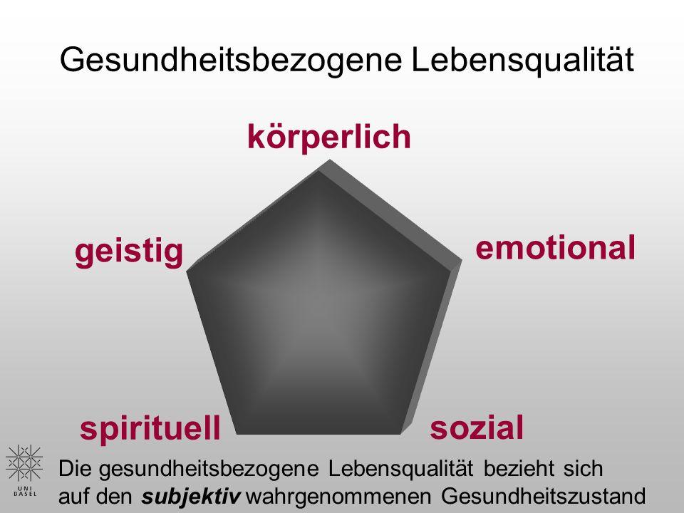 Gesundheitsbezogene Lebensqualität körperlich sozial emotional geistig spirituell Die gesundheitsbezogene Lebensqualität bezieht sich auf den subjektiv wahrgenommenen Gesundheitszustand