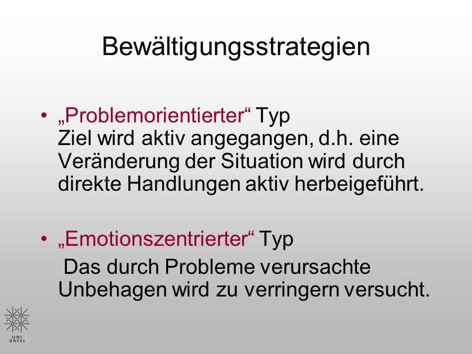 Bewältigungsstrategien Problemorientierter Typ Ziel wird aktiv angegangen, d.h.