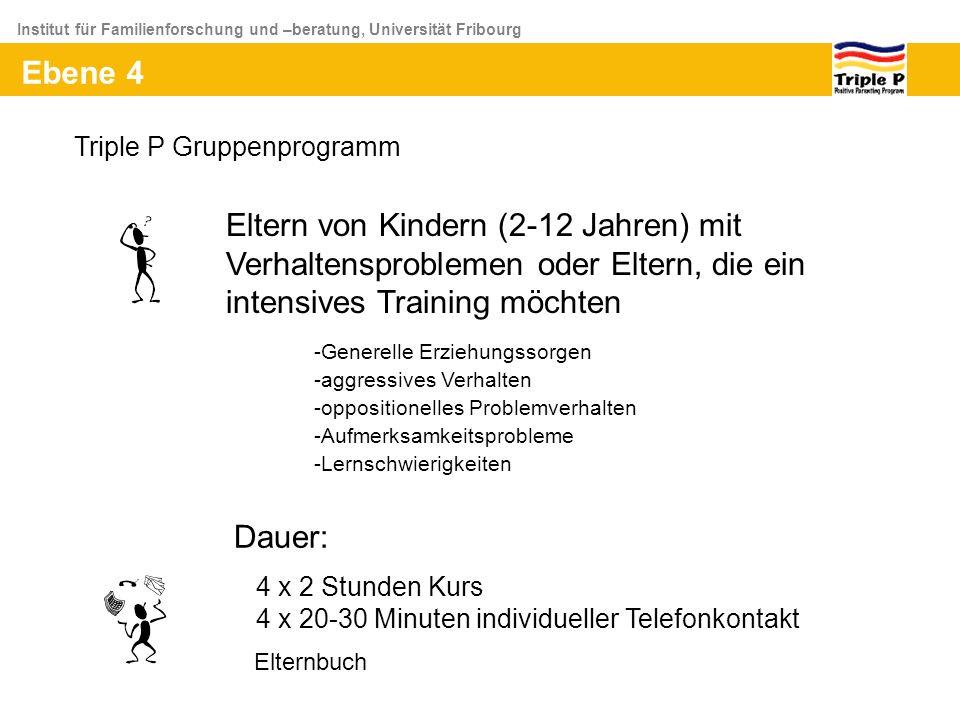 Institut für Familienforschung und –beratung, Universität Fribourg Ebene 4 Eltern von Kindern (2-12 Jahren) mit Verhaltensproblemen oder Eltern, die e