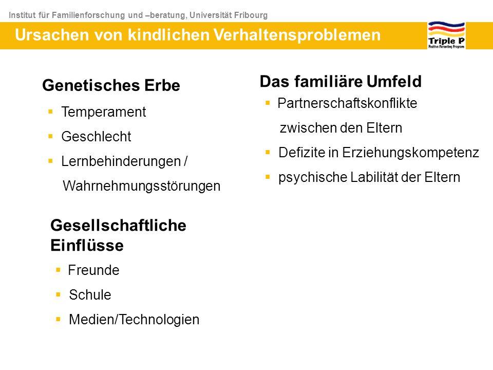 Institut für Familienforschung und –beratung, Universität Fribourg Ursachen von kindlichen Verhaltensproblemen Genetisches Erbe Temperament Geschlecht