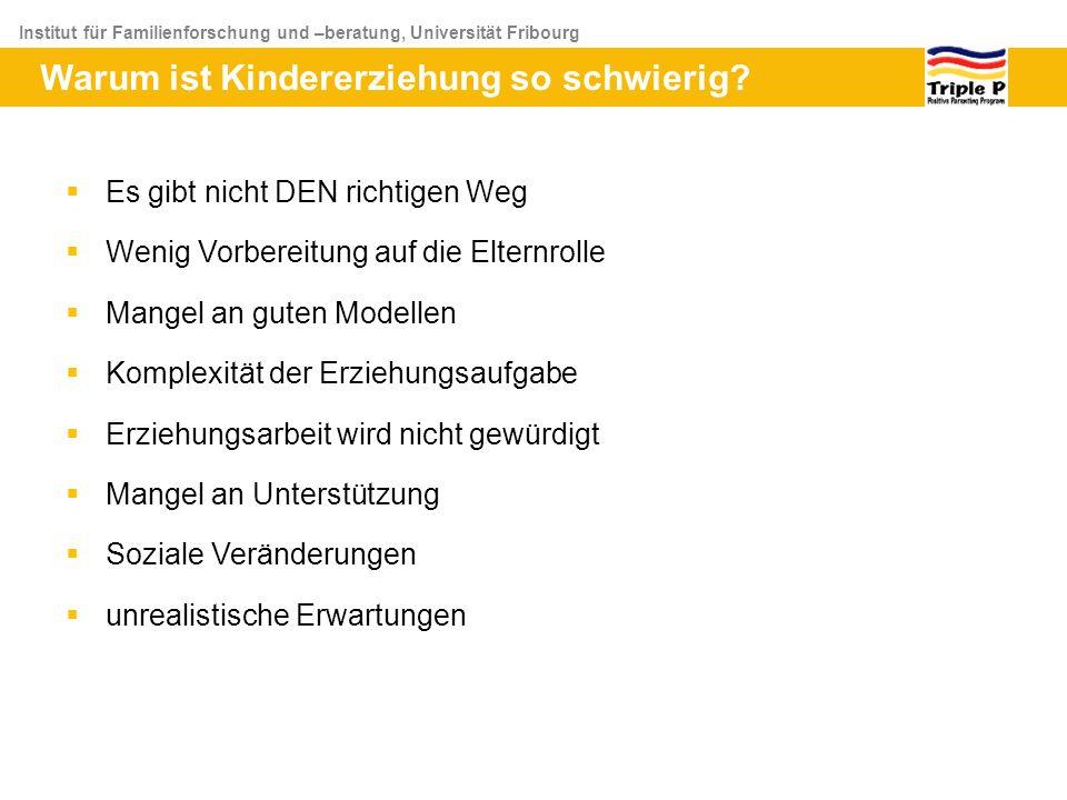 Institut für Familienforschung und –beratung, Universität Fribourg Warum ist Kindererziehung so schwierig? Es gibt nicht DEN richtigen Weg Wenig Vorbe