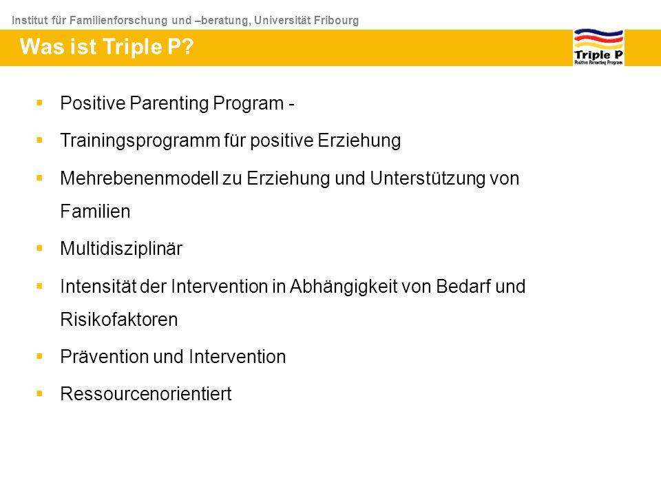 Institut für Familienforschung und –beratung, Universität Fribourg Was ist Triple P? Positive Parenting Program - Trainingsprogramm für positive Erzie