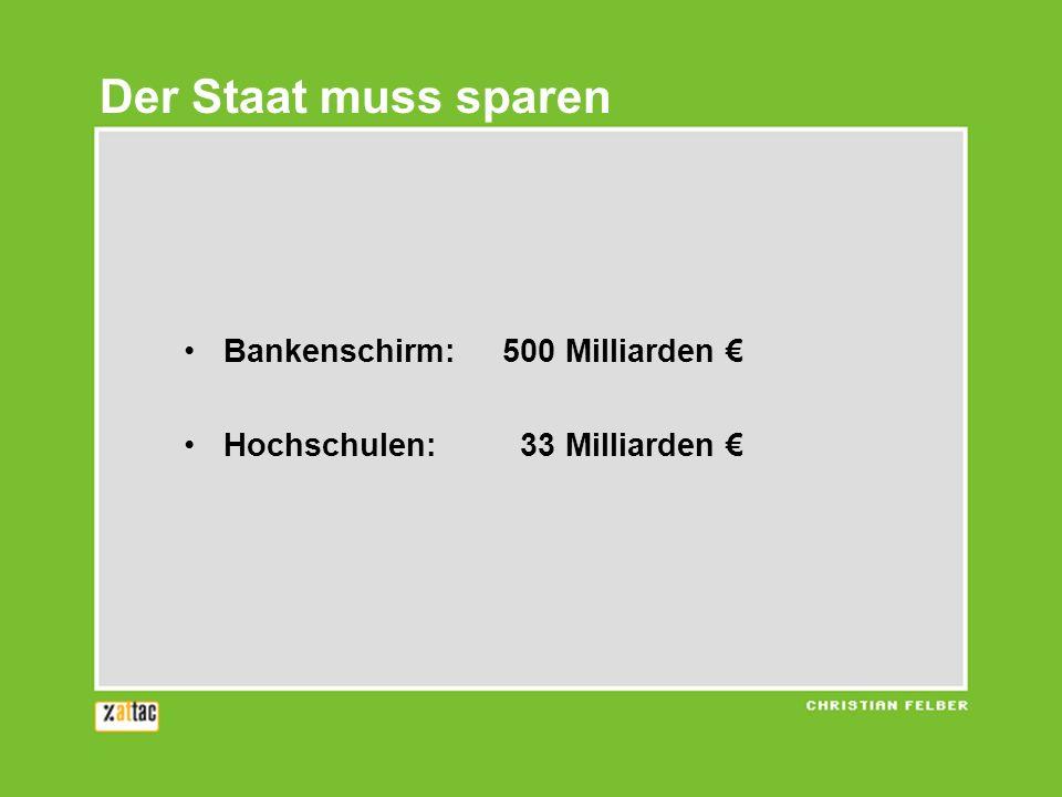 Der Staat muss sparen Bankenschirm: 500 Milliarden Hochschulen: 33 Milliarden