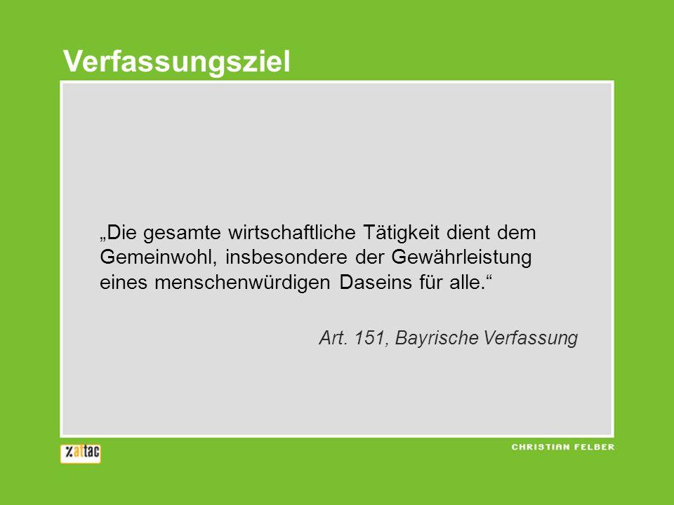 Die gesamte wirtschaftliche Tätigkeit dient dem Gemeinwohl, insbesondere der Gewährleistung eines menschenwürdigen Daseins für alle. Art. 151, Bayrisc