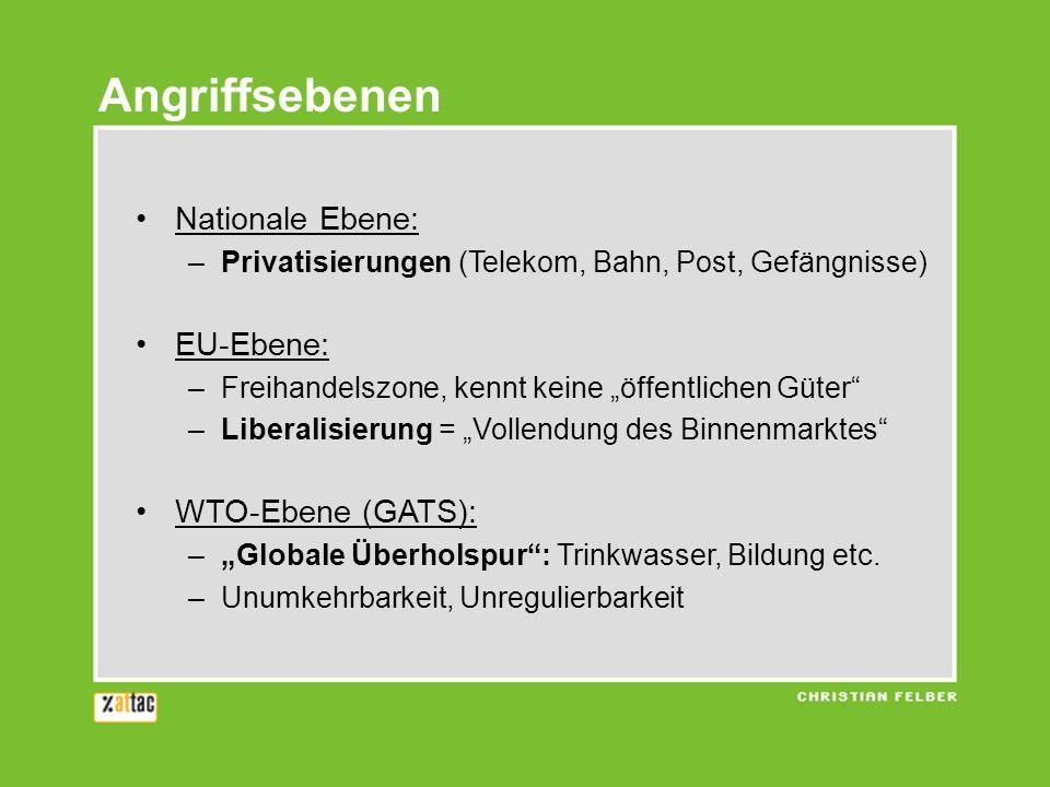 Angriffsebenen Nationale Ebene: –Privatisierungen (Telekom, Bahn, Post, Gefängnisse) EU-Ebene: –Freihandelszone, kennt keine öffentlichen Güter –Liber