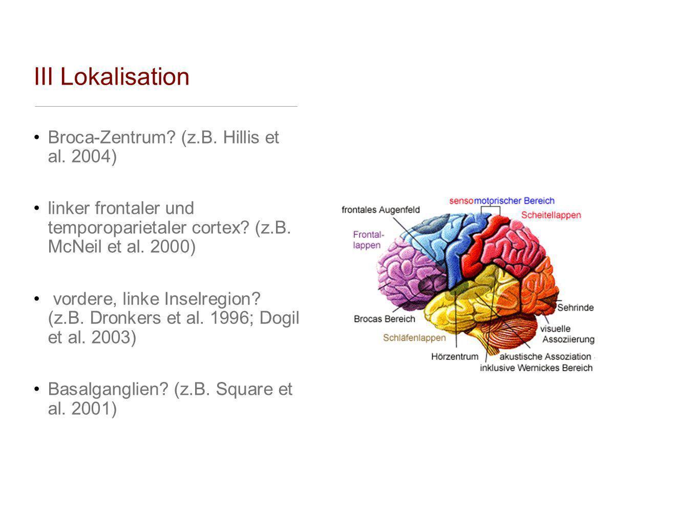 III Lokalisation Broca-Zentrum? (z.B. Hillis et al. 2004) linker frontaler und temporoparietaler cortex? (z.B. McNeil et al. 2000) vordere, linke Inse