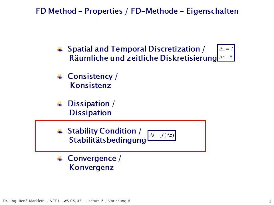 Dr.-Ing. René Marklein - NFT I - WS 06/07 - Lecture 6 / Vorlesung 6 2 FD Method – Properties / FD-Methode - Eigenschaften Spatial and Temporal Discret