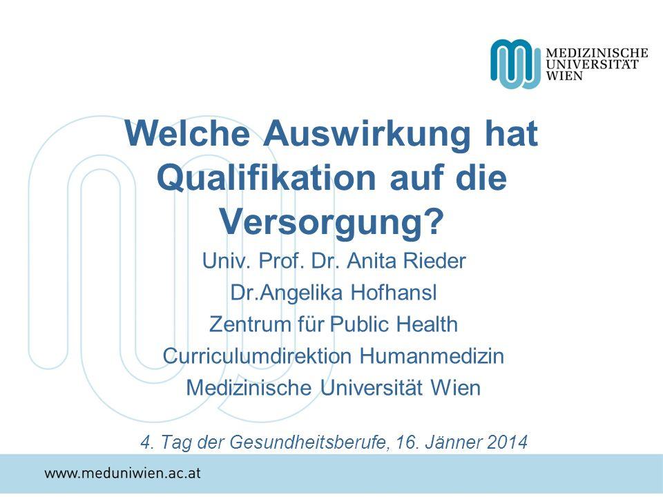 Welche Auswirkung hat Qualifikation auf die Versorgung? Univ. Prof. Dr. Anita Rieder Dr.Angelika Hofhansl Zentrum für Public Health Curriculumdirektio