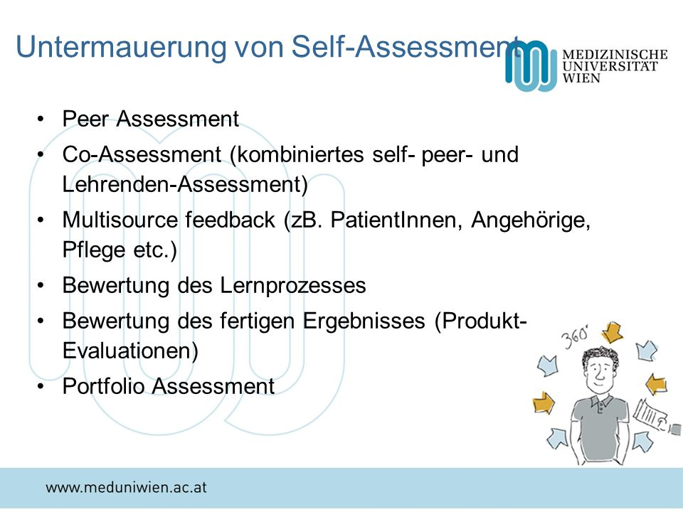 Untermauerung von Self-Assessment Peer Assessment Co-Assessment (kombiniertes self- peer- und Lehrenden-Assessment) Multisource feedback (zB. PatientI
