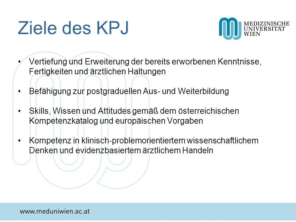 Ziele des KPJ Vertiefung und Erweiterung der bereits erworbenen Kenntnisse, Fertigkeiten und ärztlichen Haltungen Befähigung zur postgraduellen Aus- u