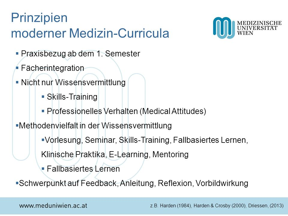 Prinzipien moderner Medizin-Curricula Praxisbezug ab dem 1. Semester Fächerintegration Nicht nur Wissensvermittlung Skills-Training Professionelles Ve