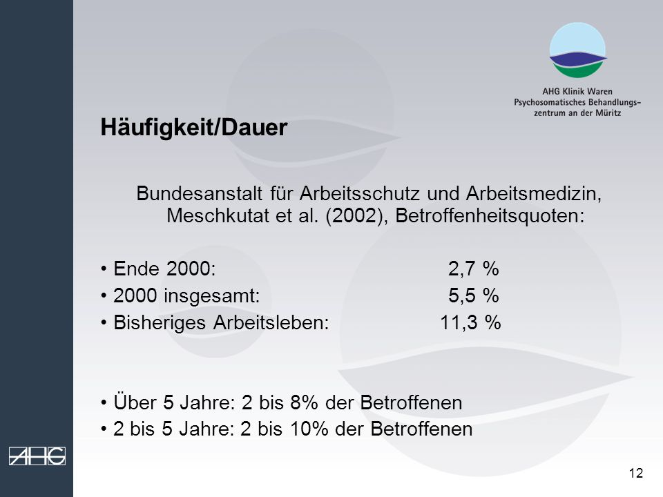 12 Häufigkeit/Dauer Bundesanstalt für Arbeitsschutz und Arbeitsmedizin, Meschkutat et al. (2002), Betroffenheitsquoten: Ende 2000: 2,7 % 2000 insgesam
