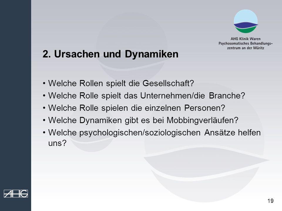 19 2. Ursachen und Dynamiken Welche Rollen spielt die Gesellschaft? Welche Rolle spielt das Unternehmen/die Branche? Welche Rolle spielen die einzelne