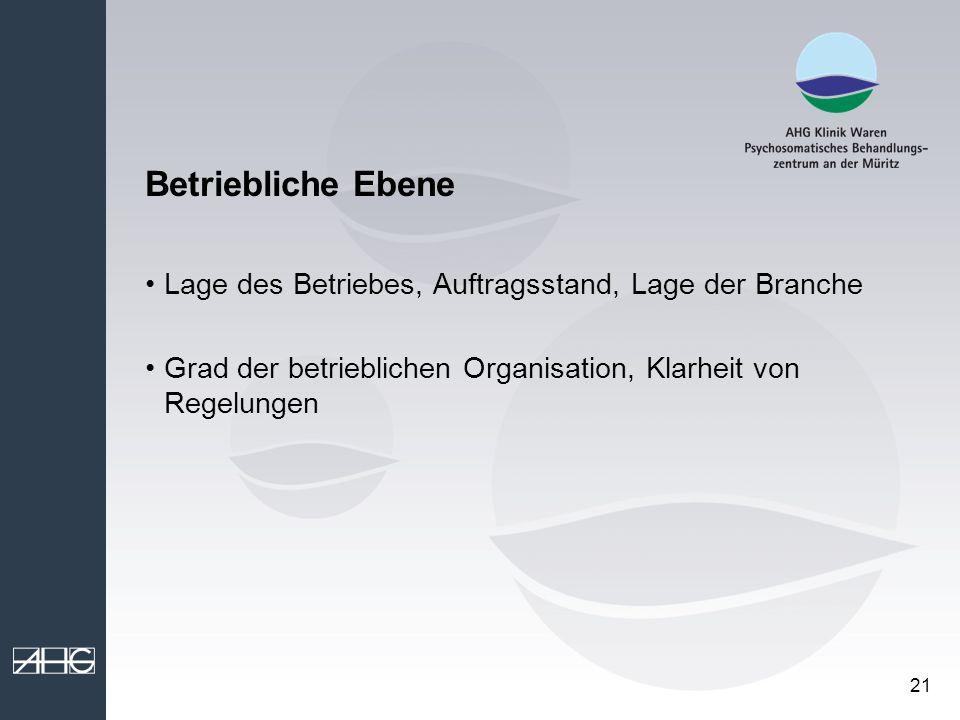 21 Betriebliche Ebene Lage des Betriebes, Auftragsstand, Lage der Branche Grad der betrieblichen Organisation, Klarheit von Regelungen