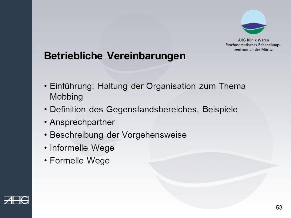 53 Betriebliche Vereinbarungen Einführung: Haltung der Organisation zum Thema Mobbing Definition des Gegenstandsbereiches, Beispiele Ansprechpartner B