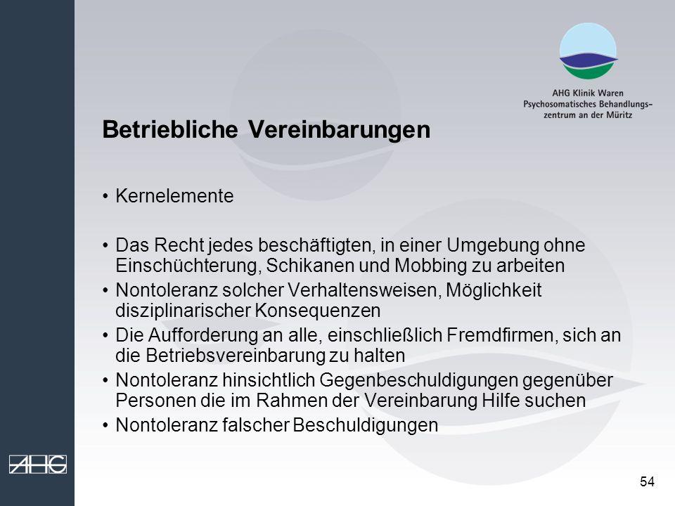 54 Betriebliche Vereinbarungen Kernelemente Das Recht jedes beschäftigten, in einer Umgebung ohne Einschüchterung, Schikanen und Mobbing zu arbeiten N