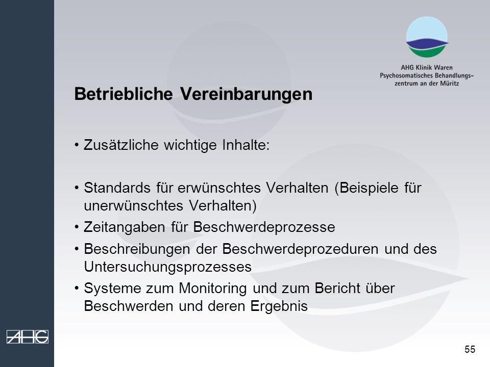55 Betriebliche Vereinbarungen Zusätzliche wichtige Inhalte: Standards für erwünschtes Verhalten (Beispiele für unerwünschtes Verhalten) Zeitangaben f