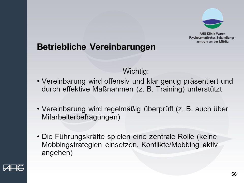 56 Betriebliche Vereinbarungen Wichtig: Vereinbarung wird offensiv und klar genug präsentiert und durch effektive Maßnahmen (z. B. Training) unterstüt