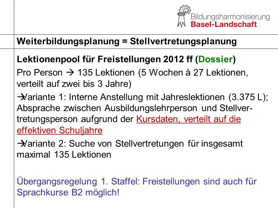 Lektionenpool für Freistellungen 2012 ff (Dossier) Pro Person 135 Lektionen (5 Wochen à 27 Lektionen, verteilt auf zwei bis 3 Jahre) Variante 1: Inter